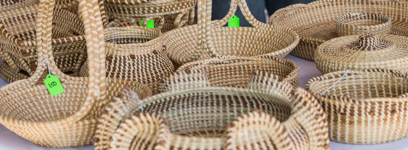 Sweetgrass baskets for sale in Mount Pleasant, SC at the Holiday Farmers Market