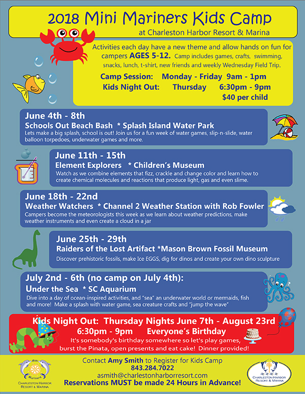 Kids camp 2018 final 1 town of mount pleasant mini mariners kids camp is a summer camp offered for ages 5 12 at charleston harbor resort and marina we operate kids camp from 9am to 1pm every monday sciox Choice Image